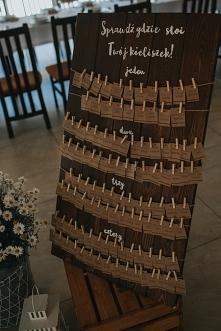 drewniana tablica rozmieszczenia gości