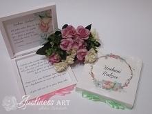 Pudełka drewniane z prośbą o błogosławieństwo w kolorze mięta-róż