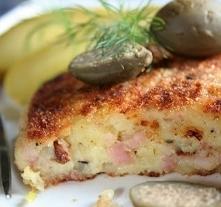 Delikatne kotlety z gotowanych ziemniaków z szynką