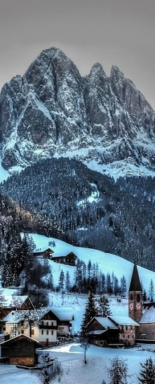 Funes in winter, Italy - by Picnic$pots4u
