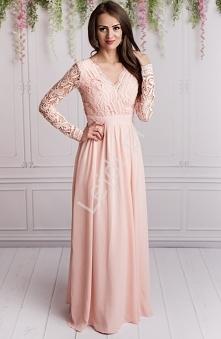 Przepiękna długa jasnoróżowa suknia wieczorowa w długi koronkowy rękaw. Sukni...