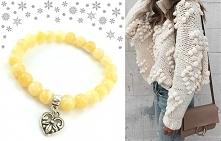 Podaruj mi trochę słońca...☀ Więc przedstawiam Wam bransoletkę charms z kamieni naturalnych żółto-bursztynowego nefrytu i serduszkiem