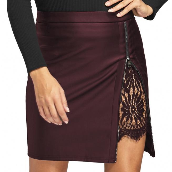 Seksowna, bardzo stylowa spódniczka z ekoskóry z zdobnym zamkiem i koronką. Kliknij w zdjęcie i zobacz, gdzie ją kupić.