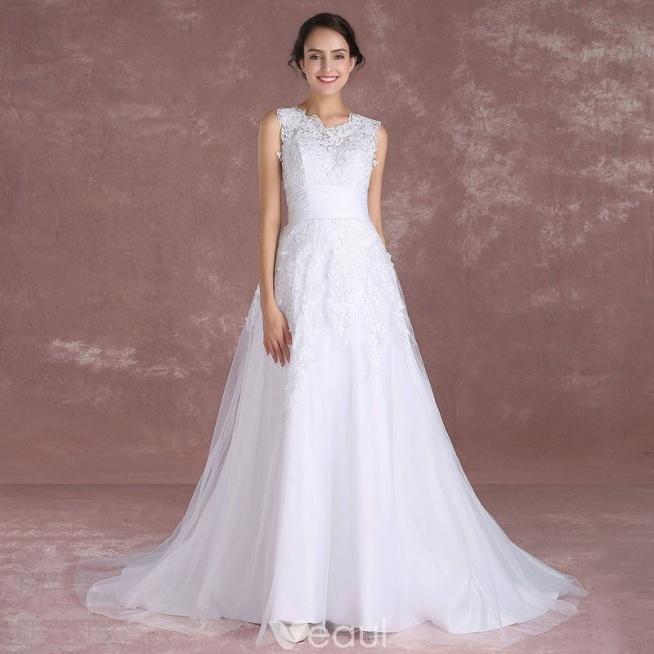 Eleganckie Białe Suknie ślubne 2018 Princessa Wycięciem Bez Ręk Na