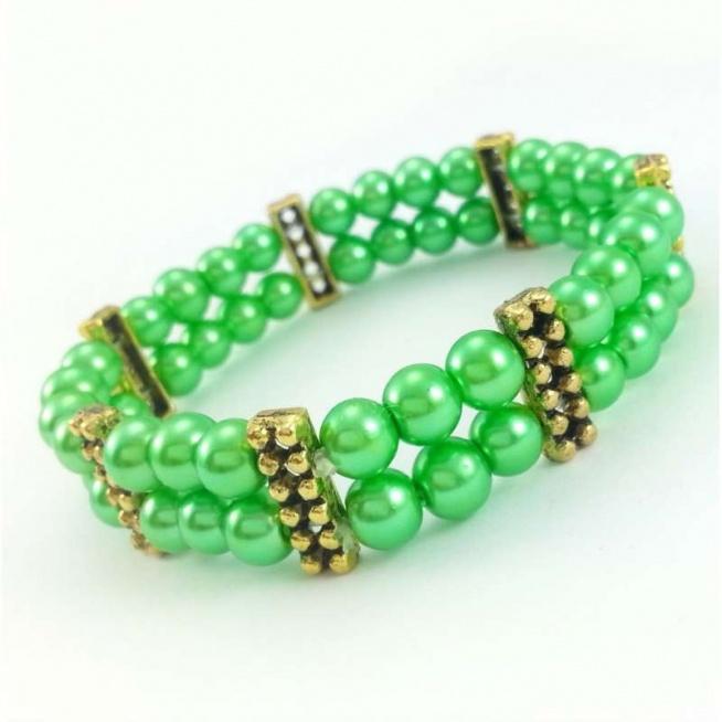 PODWÓJNA BRANSOLETKA ZIELONA PERŁĄ W ZŁOCIE  Zielona bransoletka z pereł i złotych przekładek.
