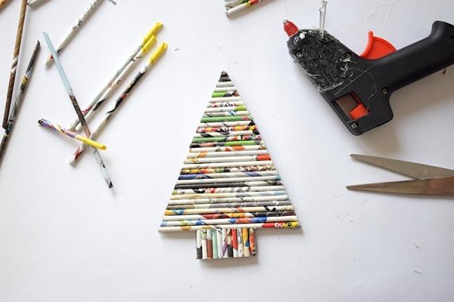 Morelkowe ozdoby świąteczne na ostatnią chwilę :) Wyklejane choinki z papierowej wikliny.