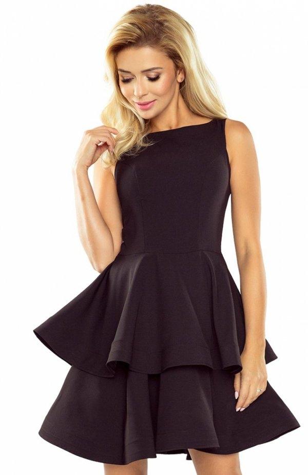 Numoco 169-3 sukienka czarna Komfortowa sukienka, rozkloszowany fason, góra dopasowana