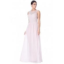 Ekskluzywna szyfonowa sukienka z bogatymi zdobieniami i siateczką na plecach