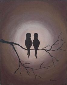 Kolejny obraz akrylowy :) Motyw ptaszków dobrze znany ;) Więcej moich obrazów...
