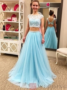 A-Line Princess Scoop Sleeveless Floor-Length Tulle Two Piece Dresses With Be...