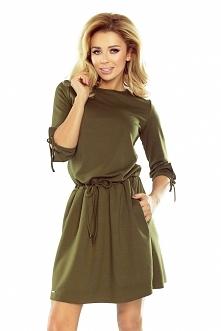 Militarna sukienka na co dzień w kolorze zielonym khaki :) od numoco. Sukienk...