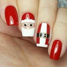 Mikołaj na paznokciach.