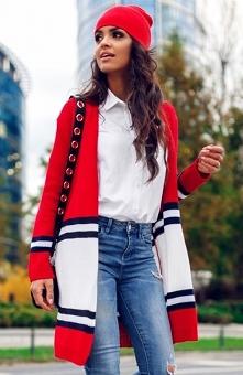 Envy Me EM604 sweter czerwony Sweterkowa narzutka, prosty i klasyczny fason, niezapinany