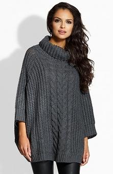 Lemoniade LS193 sweter grafitowy Rewelacyjny sweter damski, góra wykończona szerokim golfem, fason typu oversize