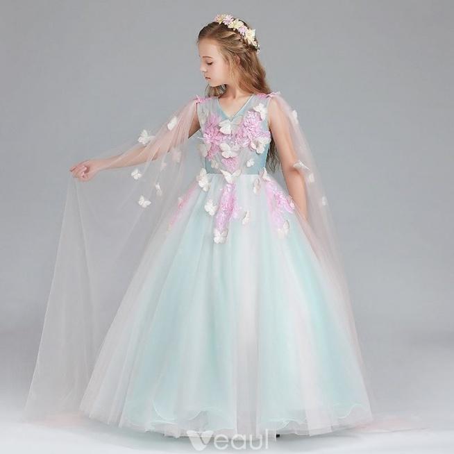 Piękne Niebieskie Cukierki Różowy Sukienki Dla Dziewczynek