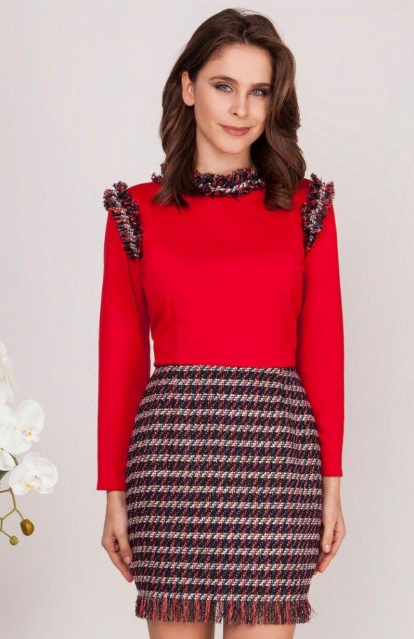 Milu by Milena Płatek MP439 sukienka czerwona Elegancka sukienka, góra dopasowana wykonana z gładkiej tkaniny, z długim rękawem