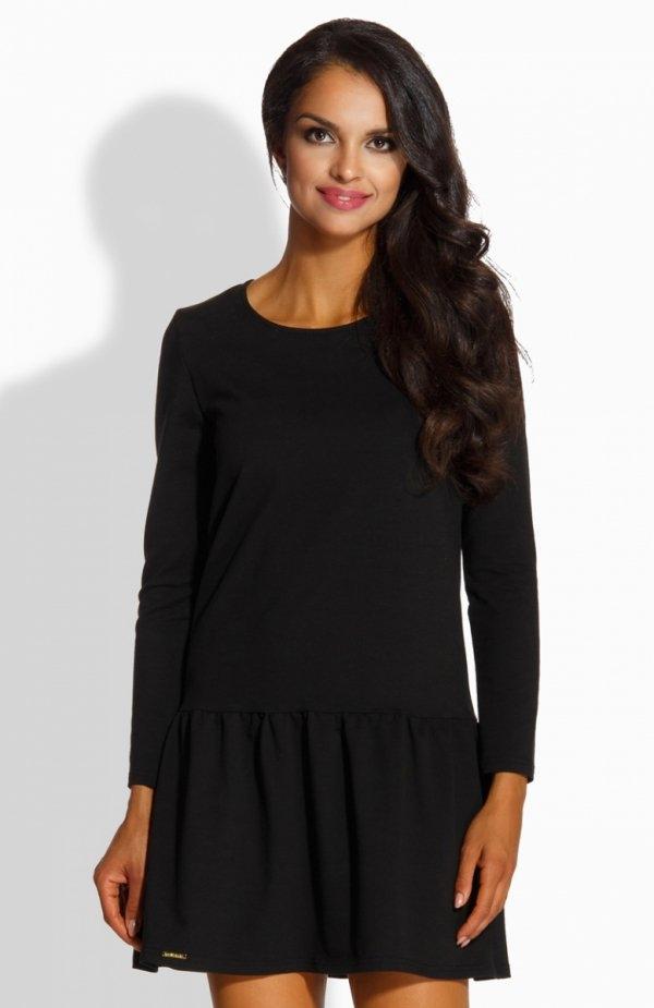 Lemoniade L218 sukienka czarna Sukienka wykończona falbaną, kobiecy fason, wykonana z miękkiej jednolitej bawełny