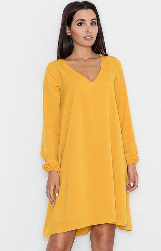 Figl M566 sukienka żółta Modna sukienka, luźny fason typu oversize, sukienka z długim rękawem wykończone gumką