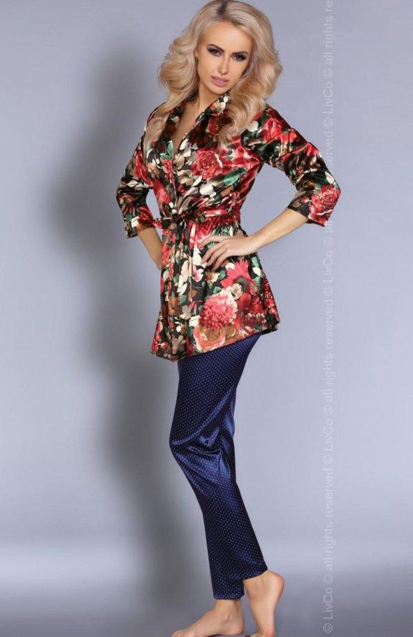Livia Corsetti Frida piżama Przepiękna satynowa piżamka, góra stanowi krótki wzorzysty szlafroczek, w pasie wiązanie