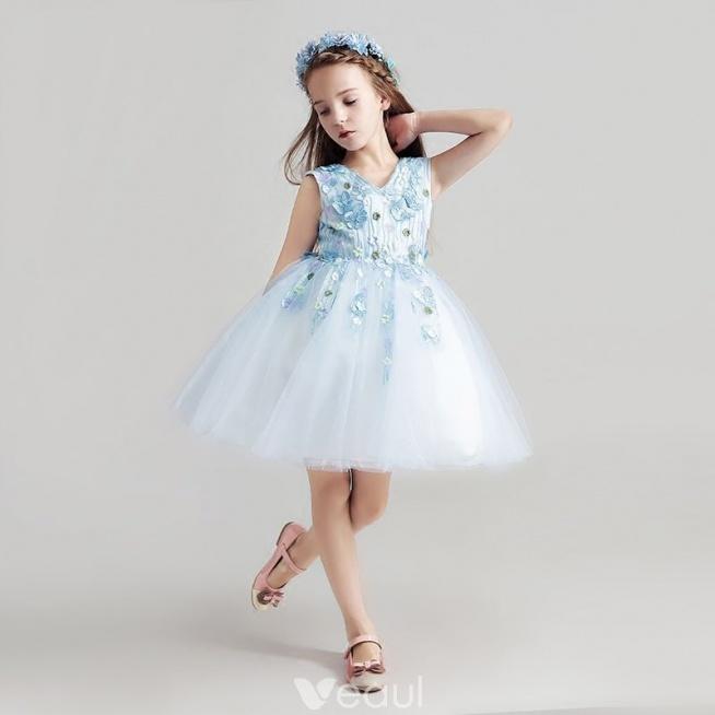 Piękne Błękitne Sukienki Dla Dziewczynek 2017 Suknia Balowa