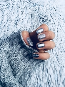 chrostmas nails, silver, beautiful ❄️❄️⭐️
