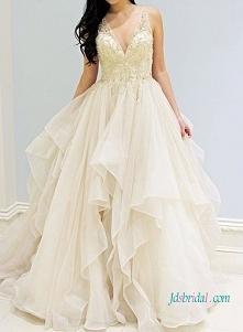 suknia ślubna romantyczna suknia balowa H1020 Romance gold embroidery detaile...