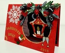 Kartka świąteczna z wiszaca latarnia...taki mialam pomysl w tym roku. Calkiem przyzwoicie to wyglada w realu:)