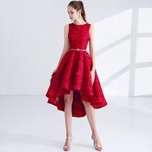 Piękne Czerwone Sukienki Koktajlowe 2017 Princessa Metal Szarfa Haftowane Wycięciem Bez Rękawów Asymetryczny Sukienki Wizytowe
