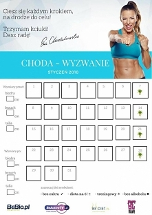 Treningowy kalendarz na styczeń od Ewy Chodakowskiej #ChodaGang #ChodaWyzwanie