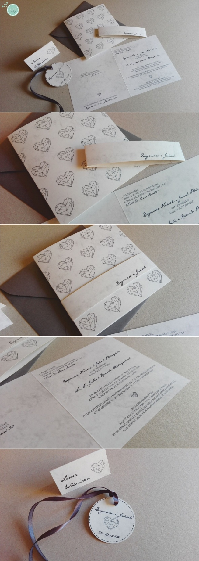 Zaproszenia ślubne. Kolekcja Lea. zuzdesign/facebook