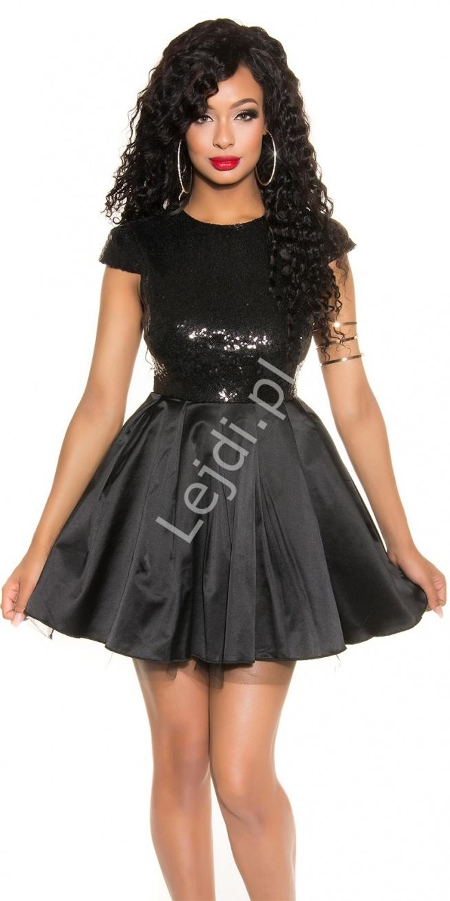 Fantastyczny Czarna krótka rozkloszowana sukienka wieczorowa z cekinami na  BH-24