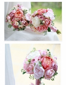 Bukiet ślubny wykonany ze sztucznych kwiatów.