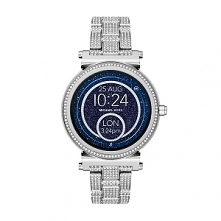 Michael Kors MKT5024 kobiecy Smartwatch z kolekcji Sofie zasilany baterią ładowaną poprzez USB. Wykonany z wysokiej jakości stali szlachetnej w kolorze srebrnym. Charakteryzuję ...