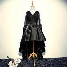 Piękne Czarne Sukienki Koktajlowe 2017 Princessa Z Koronki Kryształ Frezowanie V-Szyja Bez Pleców Asymetryczny Sukienki Wizytowe