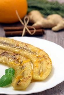 Banany smażone w miodzie z cynamonem i imbirem
