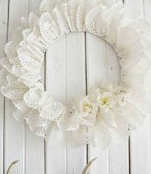 Valentine Heart Doily Wreath