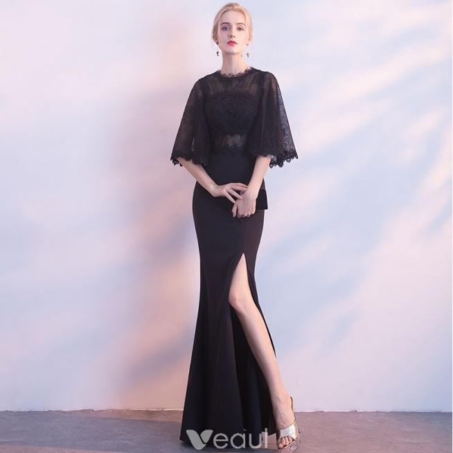 8d3a17330f Stylowe   Modne Czarne Sukienki Wieczorowe 2018 Syrena   Rozklo.. na ...