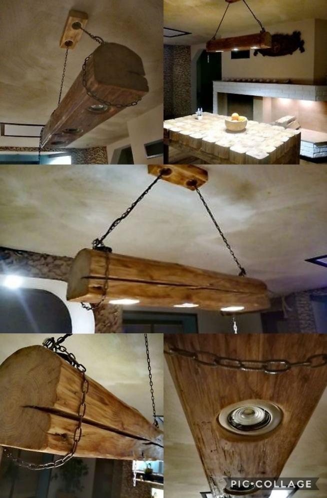 Własnoręcznie wykonana lampa. Zrobiona ze starej belki, na miedzianych łańcuchach. Nadaje wspaniałego klimatu wnętrzu