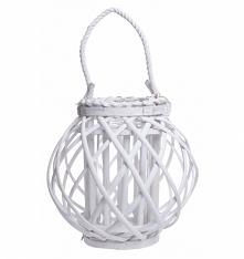 Lampion wiklinowy biały ze sznurem 24 cm