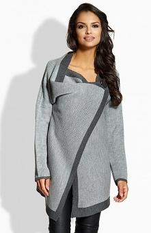 Lemoniade LS188 sweter szaro-grafitowy Elegancki dwukolorowy sweter, sweter zapinany z przodu na ozdobny duży guzik, z długim rękawem