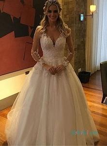 Pozycja: H0975 Sexy sheer powrót długie rękawy suknia ślubna suknia ślubna Od...