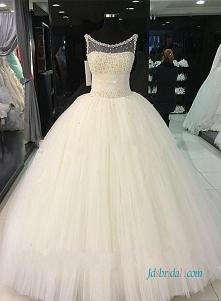 Przedmiot: H0969 Piękne perły koraliki tiul księżniczka suknia ślubna