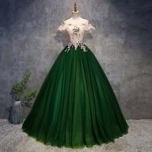 Piękne Ciemnozielony Sukienki Na Bal 2018 Suknia Balowa Aplikacje Perła Przy Ramieniu Bez Pleców Bez Rękawów Długie Sukienki Wizytowe