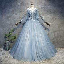 Piękne Błękitne Sukienki Na Bal 2018 Suknia Balowa Aplikacje Perła Wycięciem Bez Pleców Długie Rękawy Długie Sukienki Wizytowe