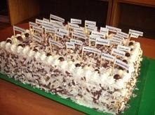 Tort orzechowo-krówkowo-kokosowy składniki są podane na blachę 25/35cm. biszkopt ciemny (po upieczeniu należy go przekroić na 2 blaty biszkoptowe): 6 jaj 1 szkl. cukru 1,5 łyżec...