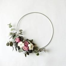 Wianek z eukaliptusem i różami, znajdziecie na decomint.dawanda.com