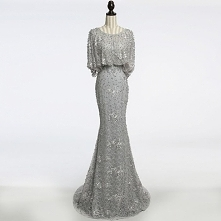Piękne Szary Sukienki Wieczorowe 2018 Syrena / Rozkloszowane