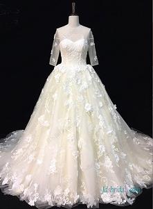 Przedmiot: H0955 Przepiękny 1/2 długości rękawa suknia ślubna 3D florals