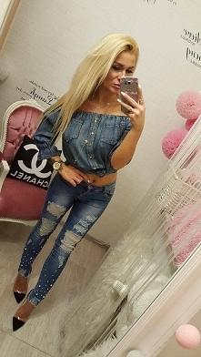 love jeans perły dziury rurki od Cindy99 z 30 stycznia - najlepsze stylizacje i ciuszki