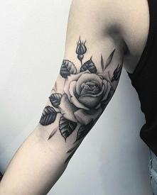 róża czarno biala